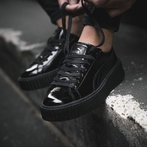 Fenty x Puma Patent Leather Low Top Sneakers Black